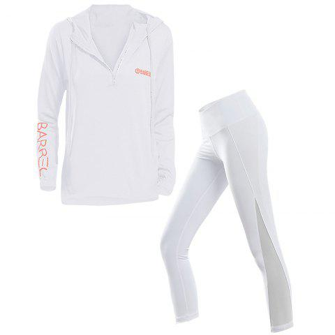 2 Pcs Women'S Sports Clothes Set Hooded Top Mesh Patchwork Leggings - WHITE M