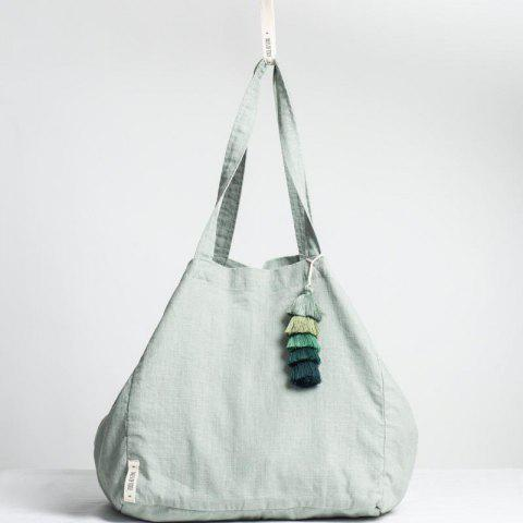 Linen Cotton Pre-Washed Tote Bag - CYAN OPAQUE 1PC