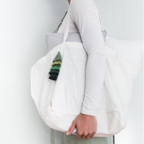 Linen Cotton Pre-Washed Tote Bag - WHITE 1PC