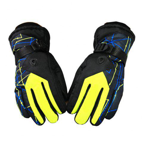 Winter Outdoor Sports Waterproof Thickening Warm Breathable Gloves - YELLOW