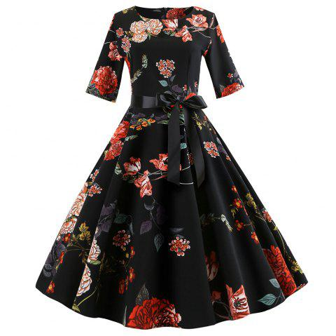 Round-Collar Printing Flowery Dress - NATURAL BLACK S
