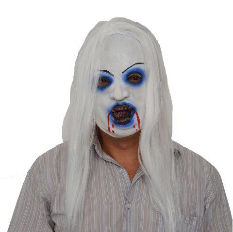 Cosplay Halloween Latex Terreur Poil Blanc Demon Haired Head Masque Partie - multicolor