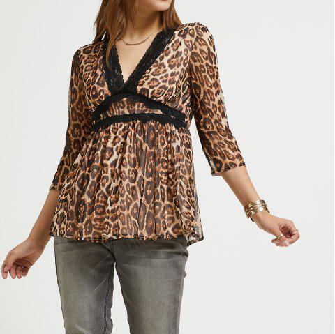 6cd74d89615 SBETRO Leopard Chiffon Blouse Deep V Neck 3/4 Sleeve Pleated Tunic Top -  LEOPARD