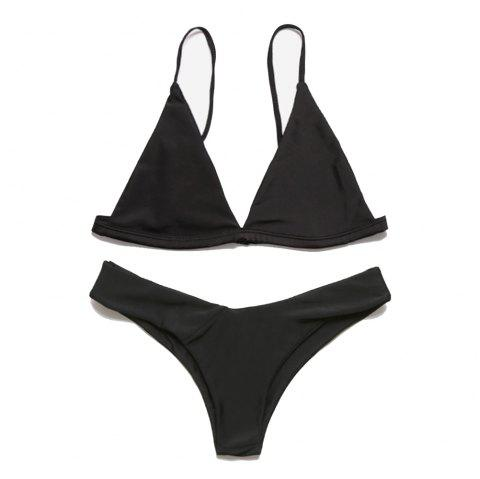European and American Women Sexy Solid Color Bikini Bathing Suit - BLACK S