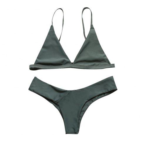 European and American Women Sexy Solid Color Bikini Bathing Suit - ARMY GREEN XL