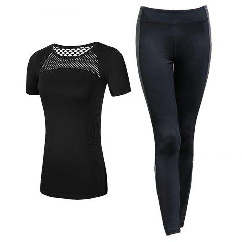 2 Pcs Women'S Sports Clothes Hollow Out T-Shirt Slim Yoga Leggings Set - BLACK L