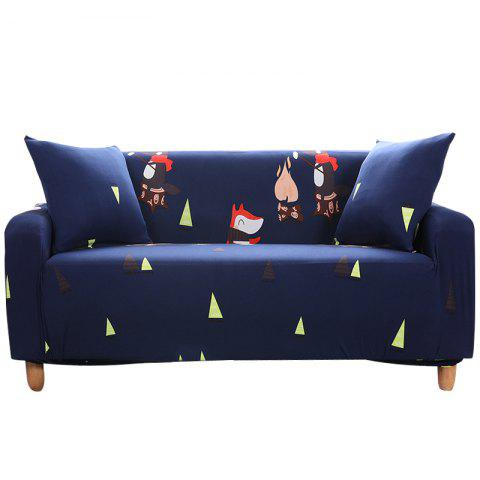 YYWH Cartoon Printing Sofa Cover Four Seat - DENIM DARK BLUE XL