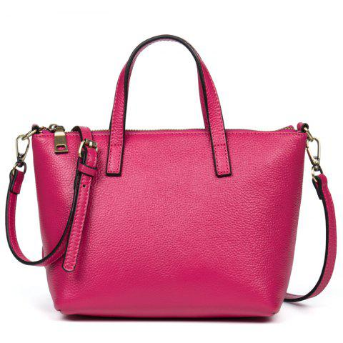 New Head-Layer Cowhide Lady Mini Handbag - ROSE RED