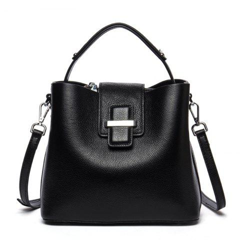 New Bag Head Leather Handbag - BLACK