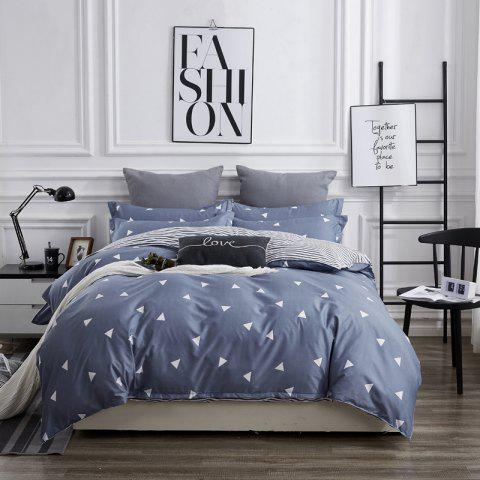 OMONNES Four Sets of Bed Fresh and Simple Sheets Quilt Simple - SLATE BLUE DOUBLE