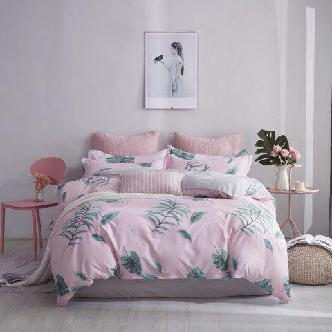 OMONNES Bed Four Sets of Fresh and Simple Sheets Quilt Love - PINK ROSE QUEEN SIZE