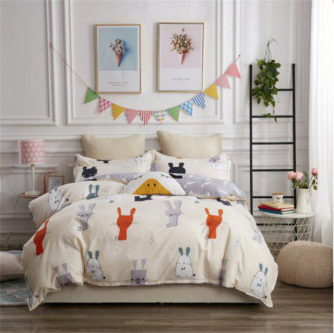 OMONNES Four Pieces of Bed Fresh and Simple Sheets Lovely Rabbits - BEIGE QUEEN SIZE