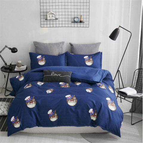 OMONNES Four Sets of Fresh and Simple Sheets on The Bed Are Happy Dragon Cats - DENIM DARK BLUE KING SIZE