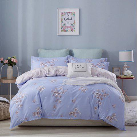 OMONNES Four Sets of Simple Sheets on The Bed Are Romantic Flower Fields - PASTEL BLUE SINGLE
