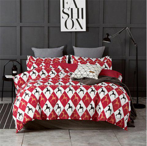 OMONNES Four Sets of Fresh and Simple Sheets on The Bed Are Roman Holiday - CHERRY RED DOUBLE
