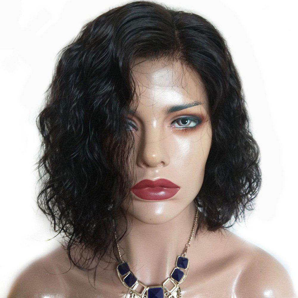 Short Water Wave Side Part Human Hair Lace Front Glueless Wig - NATURAL BLACK 12 INCHES