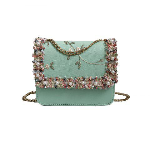2018 New Lace Small Square Bag Fashion Sweet Lady Girl Bag One Shoulder Sl - GREEN 18CM*6CM*15CM