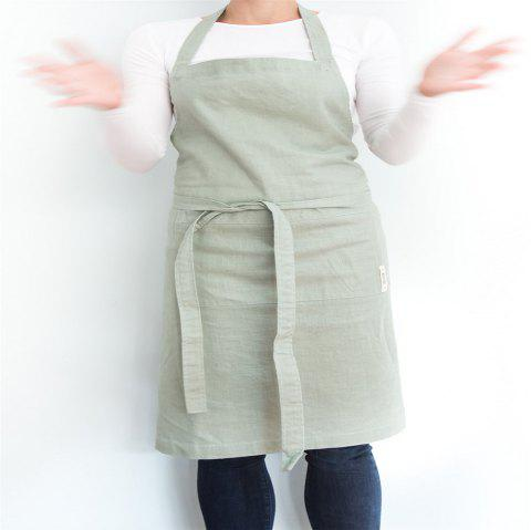 Pre-washed Linen Cotton Apron - GRAYISH TURQUOISE 1PC