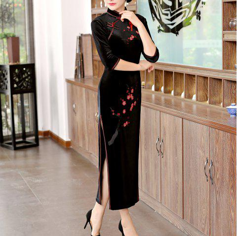 Classical Aristocratic Style Slim Sexy Embroidered Printed Cheongsam - BLACK 2XL
