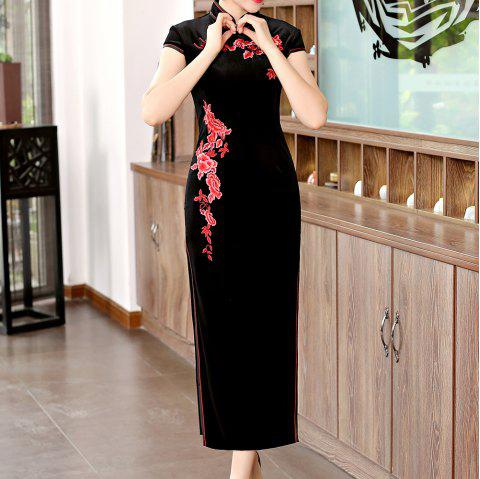 Classical Aristocratic Style Flower and Bird Embroidery Cheongsam - BLACK 3XL