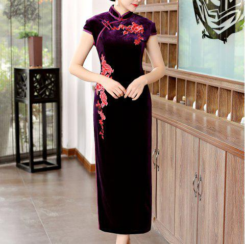 Classical Aristocratic Style Flower and Bird Embroidery Cheongsam - PURPLE 2XL