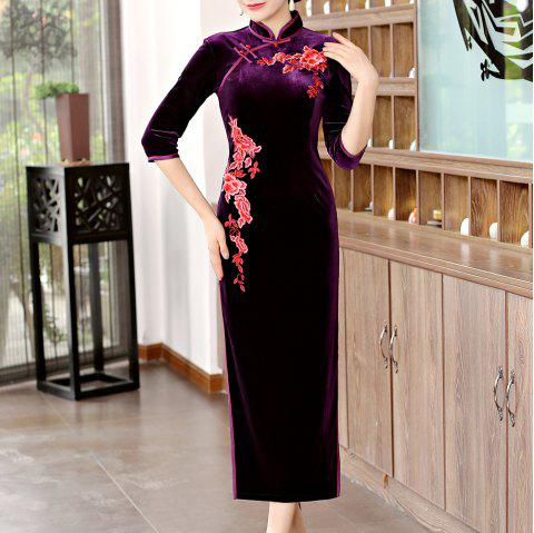 Classical Aristocratic Self-Cultivation Flower and Bird Embroidery Cheongsam - PURPLE XL