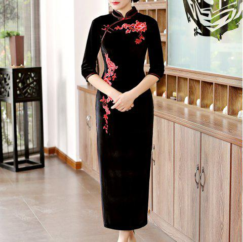 Classical Aristocratic Self-Cultivation Flower and Bird Embroidery Cheongsam - BLACK XL