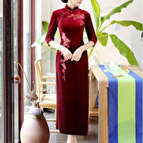 Classical Aristocratic Self-Cultivation Flower and Bird Embroidery Cheongsam - RED L