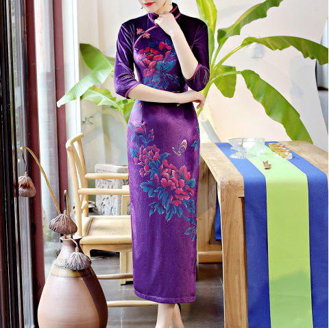 Classical Aristocratic Self-Cultivation Flower Embroidery Sexy Cheongsam - PURPLE M
