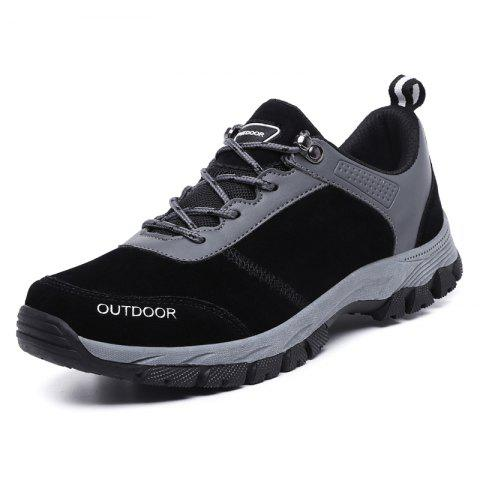 Men Breathable Outdoor Hiking Shoes Camping Mountain Climbing Boots - BLACK EU 49