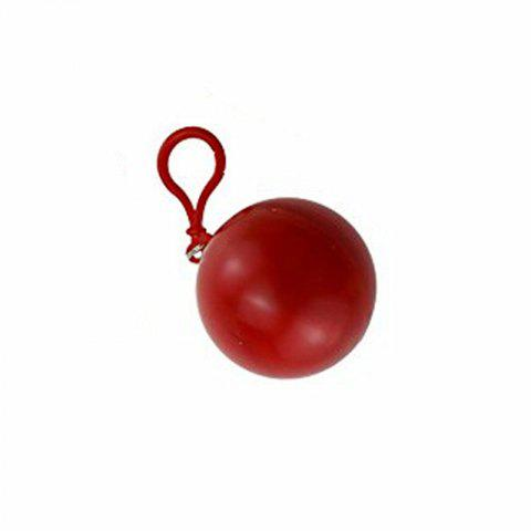 spherical Plastic Ball Keychain Portable Disposable Waterproof Rain Covers - RED