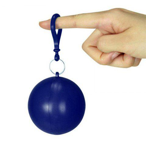 spherical Plastic Ball Keychain Portable Disposable Waterproof Rain Covers - CADETBLUE