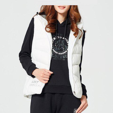 HUMTTO Women Down Vests Hooded Zipper Duck Down Thermal Cardigan Hiking Vest - WHITE 3XL