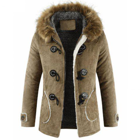 New Man Fashion Warm Lining with Nice Buckles with Hooded Long Parka Coat - LIGHT KHAKI L