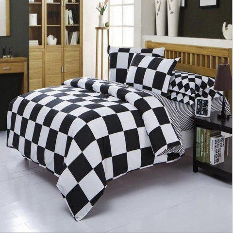 Classic Black and White Checkered Bedding Set 3 Pieces - multicolor A QUEEN SIZE