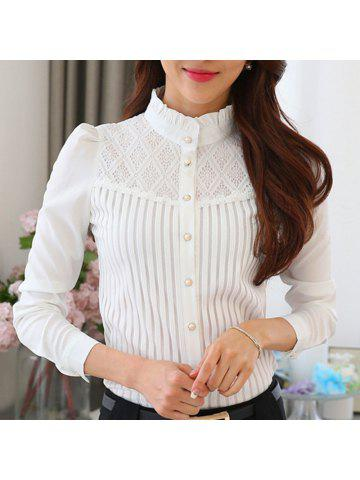 118e5a56bb4 Stand Collar Lace Patchwork Slim Career OL Long Sleeve Plus Size Chiffon  Shirt