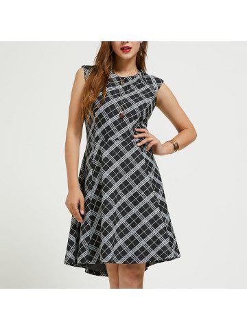 51b43f03cb SBETRO Plaid Dress Black White Knit Zip Trim Sleeveless Crewneck Fit Flare  Dress