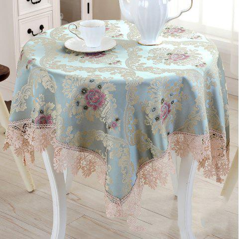 Modern Simple Table Decoration Rural Cloth Art Round Tablecloth with Lace - multicolor 125*125*1.5CM