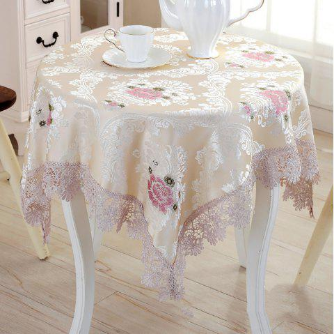 fashionable Table Decoration Cloth Art Round Tablecloth with Lace - multicolor 125*125*1.5CM