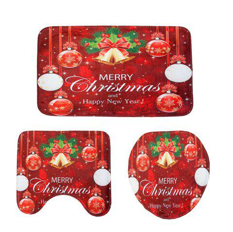 New Red Christmas Toilet Mat Three-Piece - CHERRY RED 1 SET