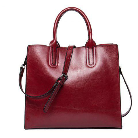 Business and Leisure Women'S Bag Cowhide Lady Handbag - RED WINE