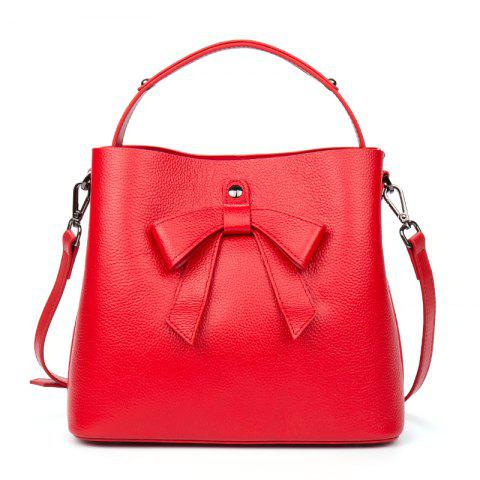 New Bag Top Layer Cowhide Lady Handbag - RED
