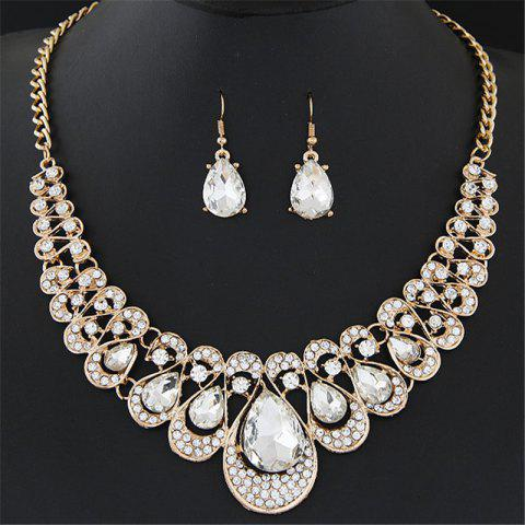 European Style Fashion Shiny Rhinestone Gemstone Drop Necklace Earring Set - WHITE 1 SET
