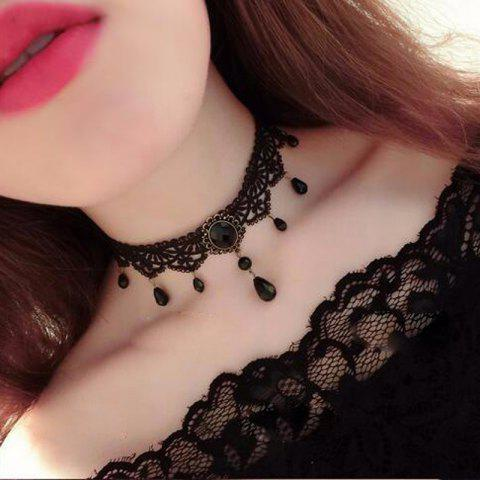European Style Fashion Vintage Gothic Multi-Layer Crystal Lace Choker Necklace - BLACK 1PC