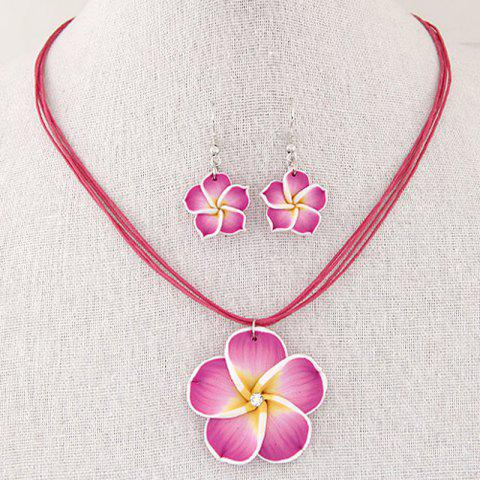 European Style Fashion Sweet Flower Wax Rope Necklace Earrings Set - ROSE RED 1 SET