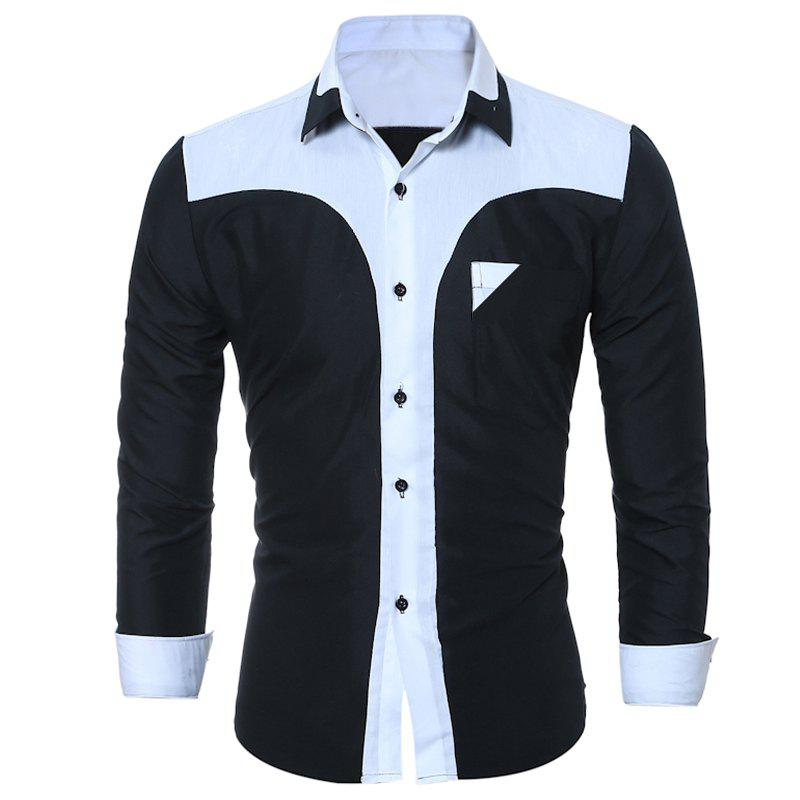 Bild von Fashion Male Shirt Long-Sleeves Tops Fashion Youth Hit Color