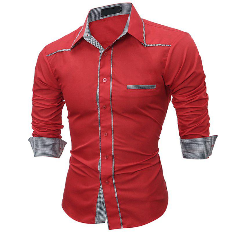 Bild von Male Shirt Long-Sleeves Tops Fashion Youth Fashion Lattice Stitching Mens Dress