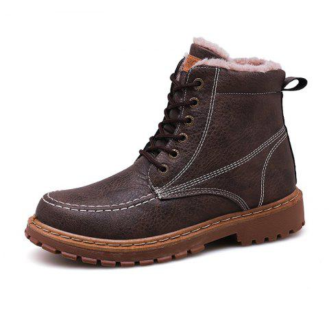 Men Boots Fashion Lace Up Soft and Comfortable - BROWN EU 44