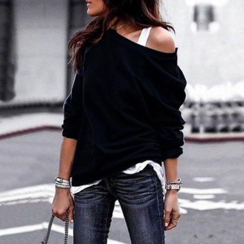 2018 Fall and Winter Fashion Round Collar Long-Sleeved Blouse - BLACK M