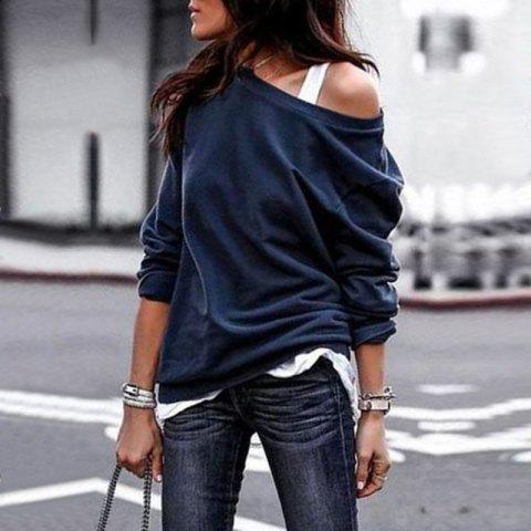 2018 Fall and Winter Fashion Round Collar Long-Sleeved Blouse - DEEP BLUE XL